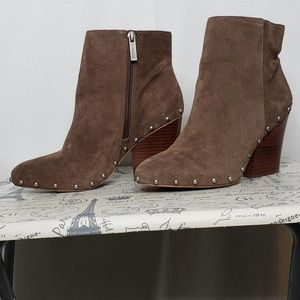 Suede Booties with chunky heel. Studs all around